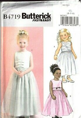 £9.99 • Buy Butterick Sewing Pattern 4719 Girls Bridesmaid Dress Flower Party Age 6-8 Easy