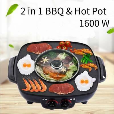 £40.19 • Buy 2 IN 1 Electric Grill Barbecue Kitchen Tabletop Cooking Frying Pan BBQ Hot Pot