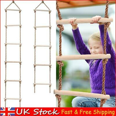 £18.99 • Buy Wooden Rope Ladder Multi Rungs Kids Children Climbing Toy Safe Sports Rope Swing