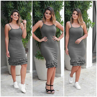 £7.19 • Buy Women Solid Ruffled Hem Strappy Bodycon Dress Casual Party Summer Dresses