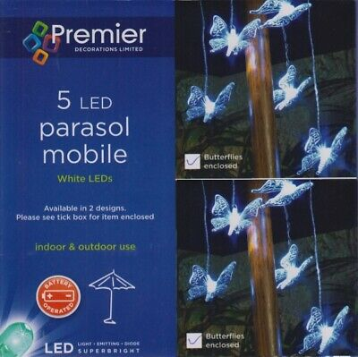 £7.99 • Buy Butterfly Garden Parasol Mobile Lights 5 LED Bright White Battery Operated