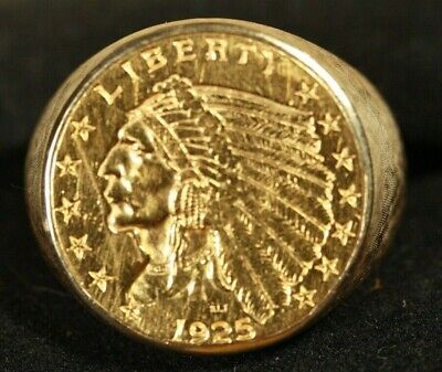 $1579 • Buy 10K Men's Coin Ring. With US 2.5 Indian Gold Coin. 13.10grams Total Weight