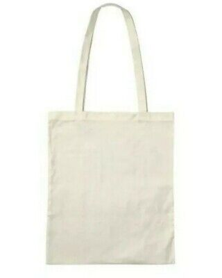 £2.49 • Buy Lightweight Natural Cream Tote Bag Eco 100% Cotton Shoulder Shopping For Life