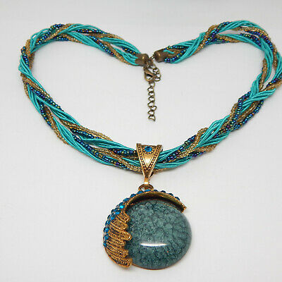 £0.72 • Buy Turquoise Crystal Rhinestone Blue All Glass Bead Far East Indie 18  Necklace