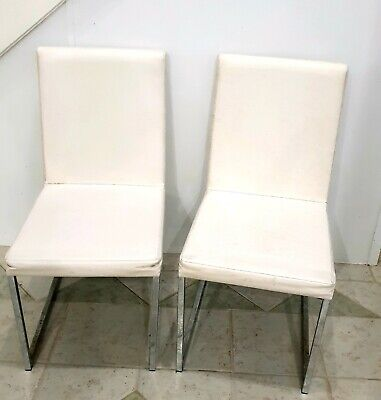 AU100 • Buy Six Modern White Upholstered Leather Dining Chairs