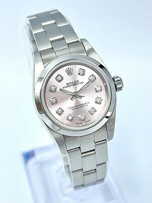 $ CDN5799.21 • Buy Ladies Rolex Oyster Perpetual 76080 24mm Pink Diamond Dial Box & Papers 2006