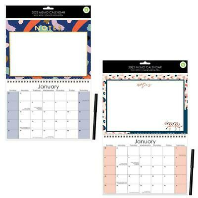 £2 • Buy 1x Illustrated 2022 Monthly Wall Calendar Family Organiser + Whiteboard And Pen