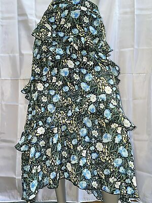 £20 • Buy River Island Black & Blue Floral Tiered Maxi Skirt NEW (UP/06)KW