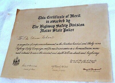 $14.99 • Buy 1939 The Edison School Sanford, Maine State Police Safety Campaign Certificate