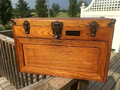 $360 • Buy Vintage 7 Drawers Oak Machinist Chest Tool Box With Original Key