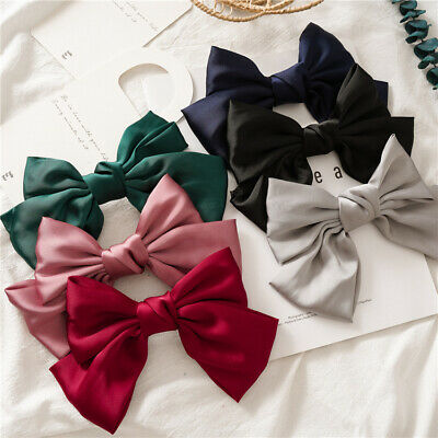 AU7.99 • Buy Vintage Large Women Silk Hair Bow Clip Girls Fashion Hairpins Accessories Party