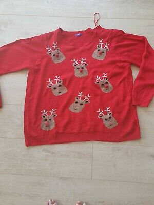 £3.80 • Buy Red Reindeer Christmas Jumper Size 22 From F & F