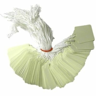 £2.99 • Buy 100 X 21mm X 6mm White Strung String Tags Swing Price Tickets Tie On Labels