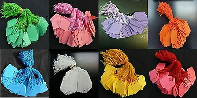 £2.99 • Buy Coloured Strung String Kraft Tags Swing Price Tickets Jewellery Tie On Labels