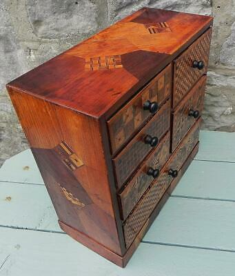 £275 • Buy An Antique Miniature Jananese Inlaid Cabinet.  6 Drawers. C 1880.  (355)