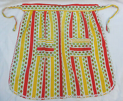£8.89 • Buy VINTAGE Yellow Red Striped Floral HALF APRON PINNY WAIST APRON