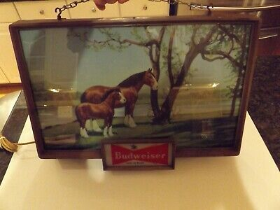 $ CDN377.64 • Buy Rare Vintage Budweiser Beer Lighted Sign Clydesdale Horse Baby Colt 1950 1960's