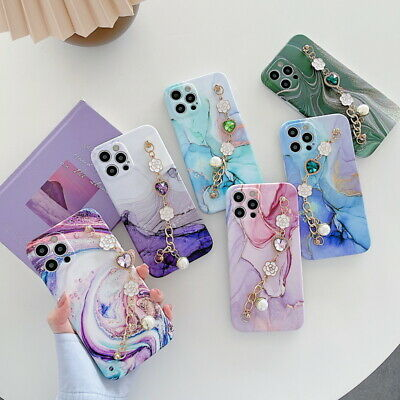 AU6.36 • Buy Marble Flower Bracelet Silicone Case Cover For Apple IPhone 12 Pro Max 11 XR 8 7