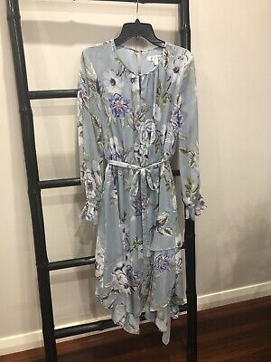 AU15.50 • Buy FOREVER NEW Size 8 Dress EUC Midi Floral Light Blue Tiered