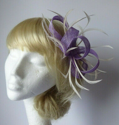 £15.99 • Buy Lavender Lilac Purple Feather Fascinator On Comb Wedding Mother Of The Bride