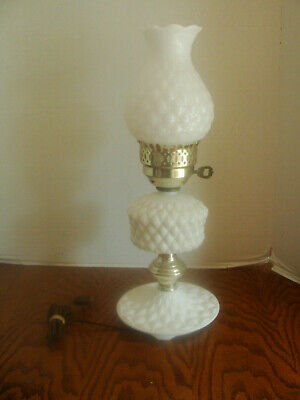 $9.99 • Buy Vintage Quilted Milk Glass Hurricane Boudoir Table Lamp With Matching Base