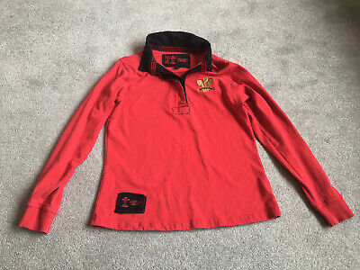 £4.50 • Buy Vintage Wales Rugby Shirt Red With Black Collar Size 14 Gold Label Collection