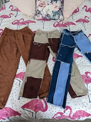 £3 • Buy Ladies, Teens Y2K Trousers. X3 Pairs Patchwork Jeans And Cords. Size XS Shien