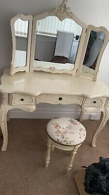 £120 • Buy French Vintage Style 3 Piece Cream Dressing Table Mirror And Stool Set