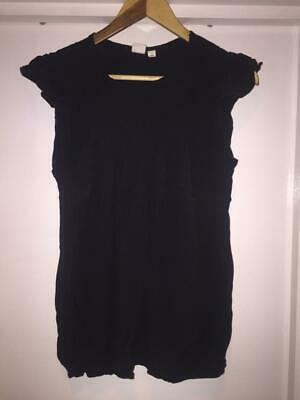 £5 • Buy Maternity Top- Gap Black Sheer Top Ruffle Sleeves Pleated Front, Size Small