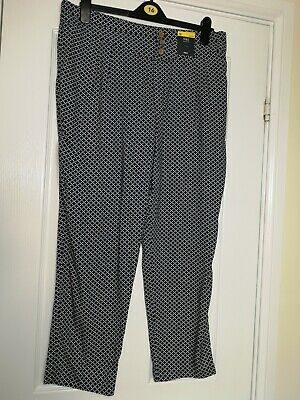£7.99 • Buy M & S Size 16 Short Navy Patterned  Elastic Waist Light Weight Summer Trousers