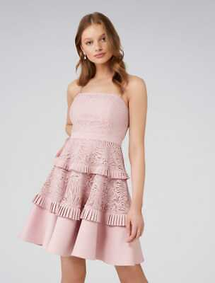 AU55 • Buy Forever New Angel Strappy Spliced Lace Dress Dusty Pink - Size 8 - Euc