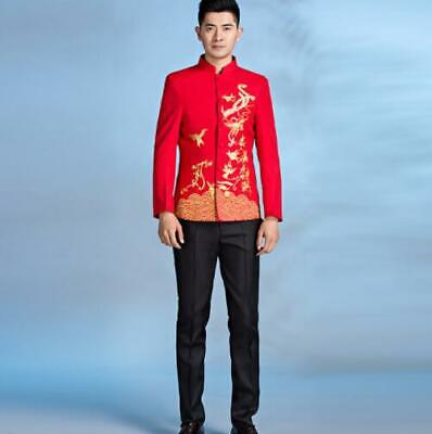$99.80 • Buy Mens New 2Pcs Chinese Style Suits Stand Collar Printing Floral Casual Stage Show