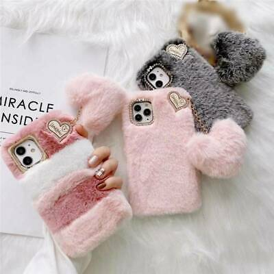 AU15.99 • Buy For IPhone 12 8 X 11 12 SE 2 Phone Case Cover Plush Fluffy Soft Warm Heart Girls