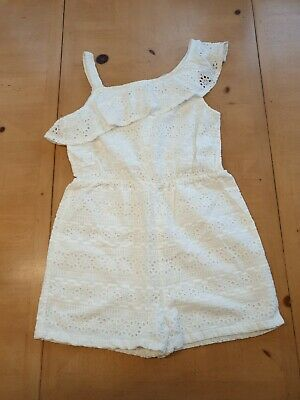 AU1.85 • Buy John Lewis Girl's White Broderie Summer Playsuit Size 9 - 10 Years