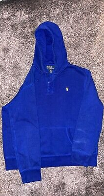£9.99 • Buy Ralph Lauren Royal Blue Hoodie Yellow Pony Rugby Style Mens Size XL
