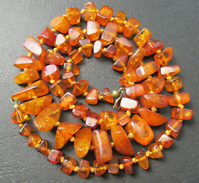 £25.24 • Buy Antique Natural Butterscotch Egg Yolk Baltic Amber Beads Necklace 25.1g.