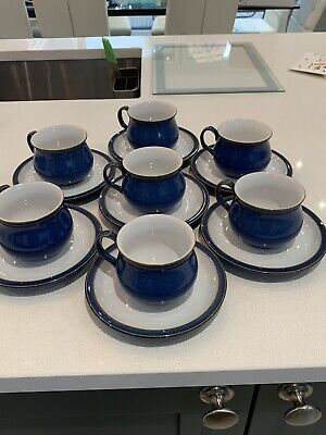 £8.50 • Buy Denby Imperial Blue 7 X Tea Cups And Saucers