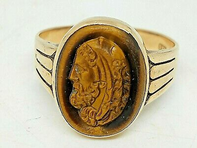 $399 • Buy Mens Vintage 14kt Yellow Gold Carved Cats Eye Ring Size 10~5 Grams