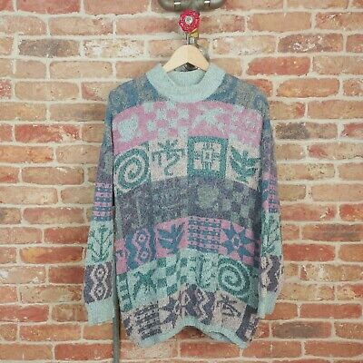 £34.99 • Buy NOR' EASTERLEY Vintage Womens Jumper Abstract Inca Like Pachamama Amaro M 90s