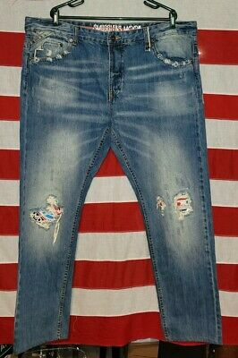 $0.99 • Buy Smugglers Moon Mens W44/L36 Long Jeans Ripped Blue  Distressed Destroyed 44 36