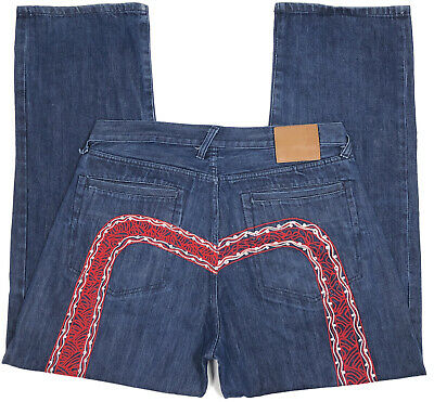 $69.99 • Buy EVISU Embroidered Jeans Mens 38x33 Distressed Dark Wash Button Fly