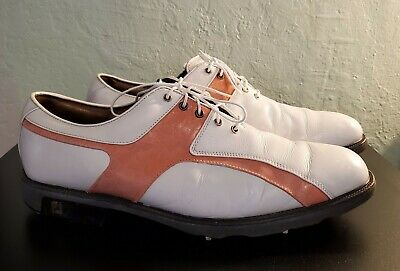 $55.99 • Buy Footjoy ICON Golf Shoe Cleats White/Pink Corral Leather Men12M Shoes 52176