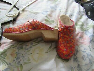 £25 • Buy Toffeln Clogs Shoes Size Uk 6 Red Floral Theatre Medical Wooden Style