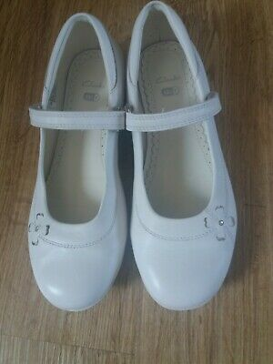 £2.49 • Buy Girls White Leather Clark's Wedding Formal Occasion Shoes UK Size 13.5 F