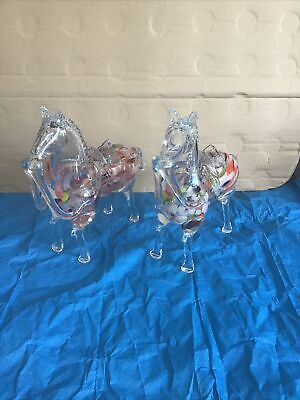 """£39.99 • Buy Vintage Pair Of Murano ( Style ?) Horses 7.75"""" High & 9"""" Long Hand Blown"""