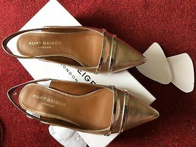 £6 • Buy Lovely Pair Of Ladies Bronze Leather Kurt Geiger Sling Back Shoes Size 5 (38)