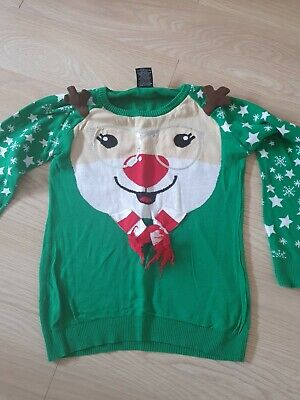 £4.50 • Buy Green Rudolph  Christmas Jumper Size 14