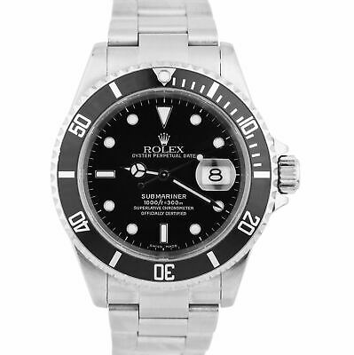 $ CDN12476 • Buy Rolex Submariner Date 16610 NO HOLES 40mm Black Stainless Z SERIAL Dive Watch