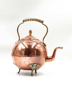 £14 • Buy Vintage Copper Kettle With Brass Feet And Handle DISPLAY ONLY - Needs Repair