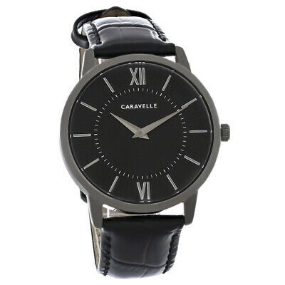 $20 • Buy Caravelle By Bulova Mens Black ION Plated Stainless Steel Quartz Watch 45A147